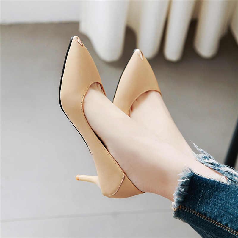 Plus Größe 48 frauen Heels Büro Schuhe Frauen Mode Medium Heels Spitz Schwarz Weiß Nude Pumps Schuhe Frauen klassische Schuhe