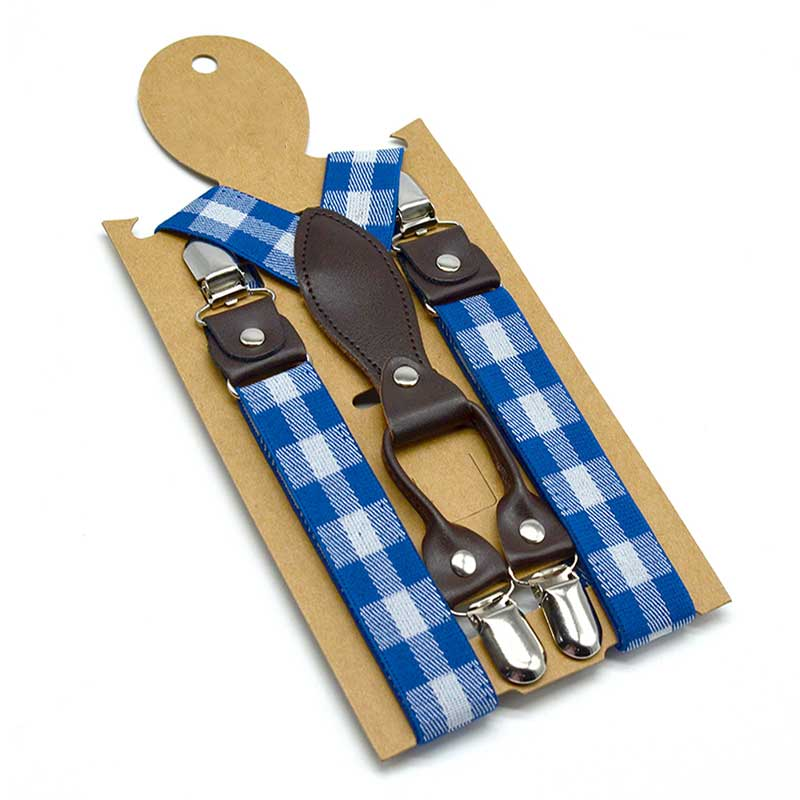 Kids Suspenders 4 Clips On Brace Child Size Boys Girls Suspenders Cheap High Quality Plaid Pattern