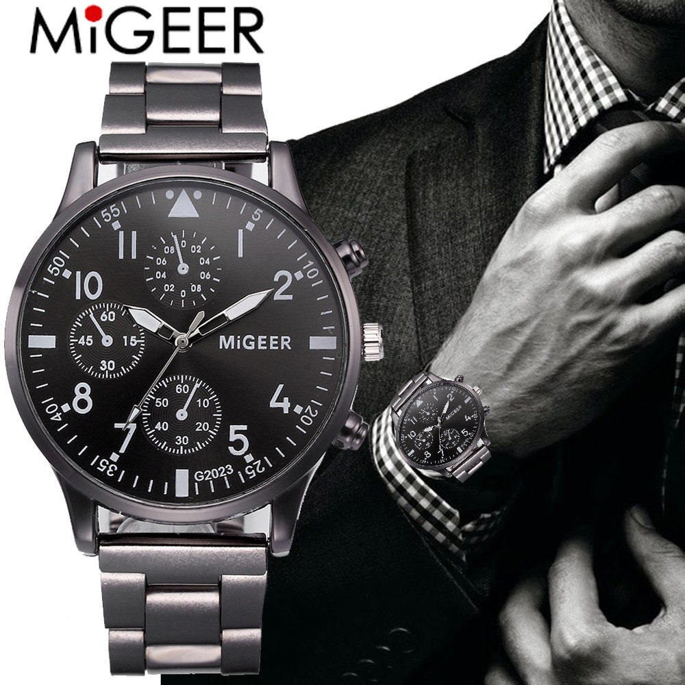 Luxury Fashion Watch Men Crystal Stainless Steel Analog Quartz Wrist Watch Bracelet Male Hour Clock Relogio Masculino