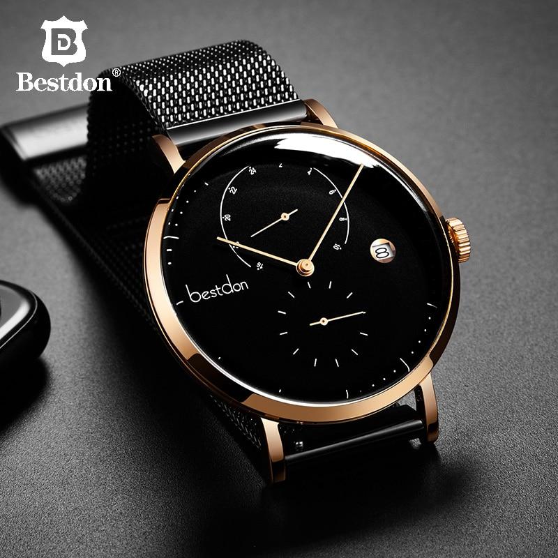 Bestdon bauhaus design 남성용 시계 탑 럭셔리 브랜드 스테인레스 스틸 대형 다이얼 쿼츠 손목 시계 패션 단순 울트라 씬 시계-에서수정 시계부터 시계 의  그룹 1