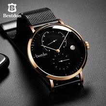 Bestdon バウハウスのデザインメンズ腕時計トップの高級ブランドステンレス鋼大型ダイヤルクォーツ腕時計ファッションシンプルな超薄型腕時計