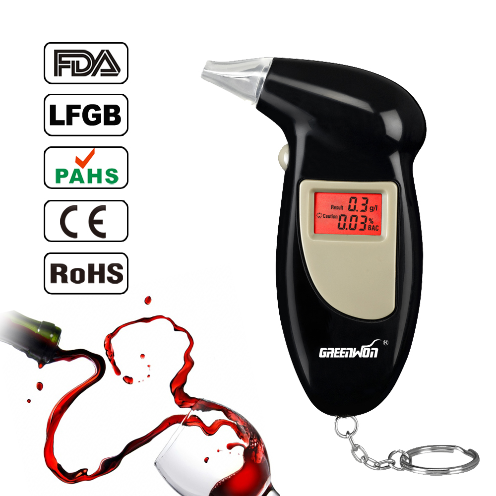 5pcs/lot Fashion and portable digital keychain alcohol tester or breathalyser with backlight wholesale ABT-68S