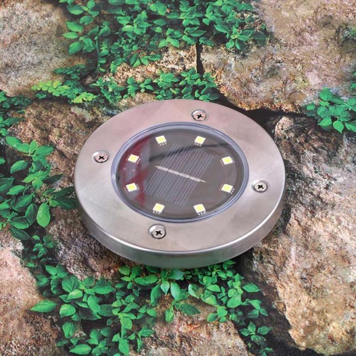 4 Pcs/set  LED Solar Power Buried Light 8 LEDs Ground Lamp Outdoor Path Way Garden Decor White Four 8