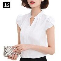 Chiffon Fashion White Blouse Women Short Sleeve Shirts Female Office V Neck Lady Shirt 2016 New