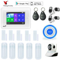 Yobang Security Wireless Home Full Touch Screen WIFI 3G Security Alarm System APP Control Smoke Fire Sensor Burglar Alarm Kit