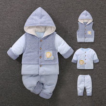 YiErYing Baby Winter Thicken Clothes 3 Pcs suits hooded Cotton Cartoon Style baby Girl Boy Clothing Infant Set Toddler Costume
