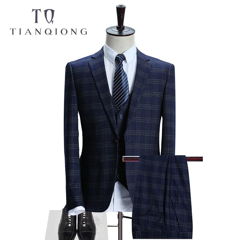 TIAN QIONG Marca de alta calidad de lana azul Plaid hombres trajes de - Ropa de hombre