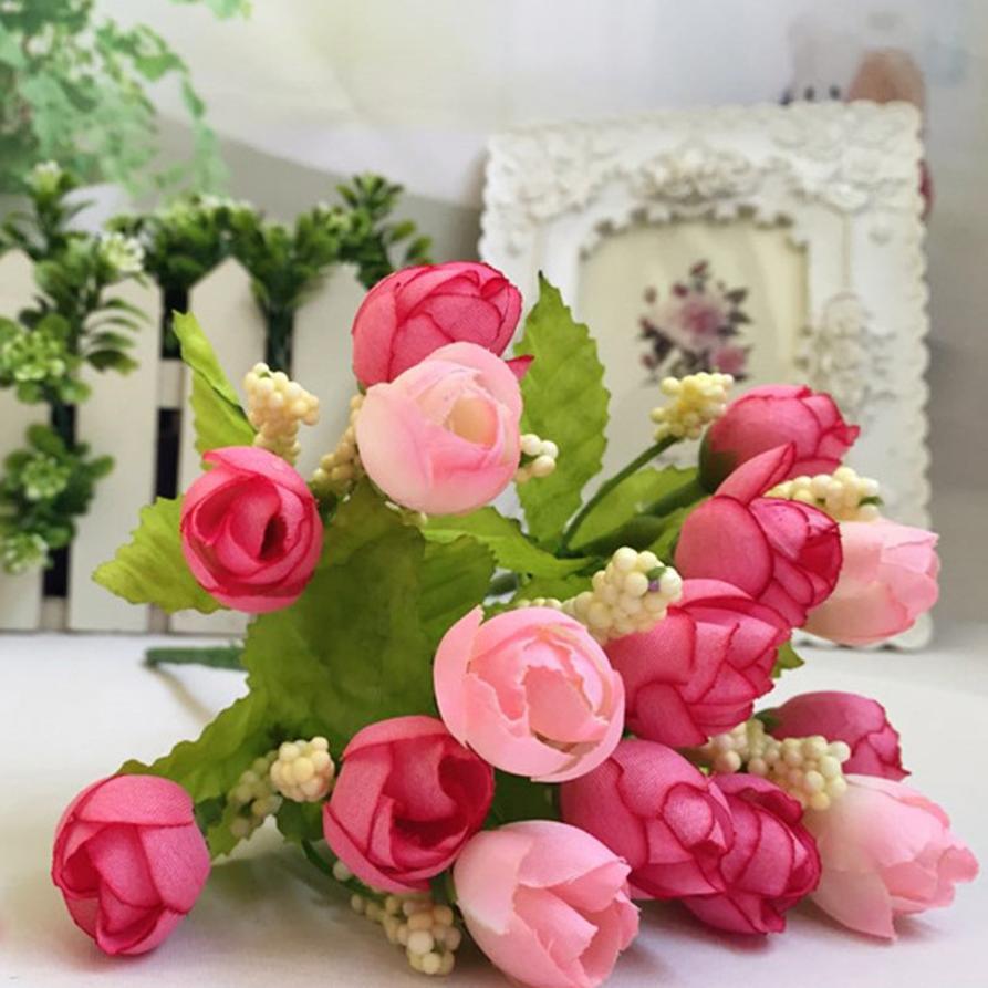 Sweet 2017 Hot  15 Heads Unusual Artificial Rose Silk Fake Flower Leaf Home Decor Bridal Bouquet