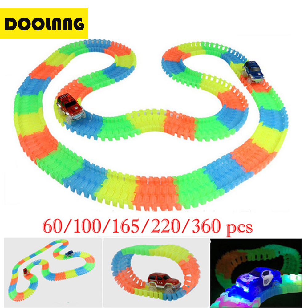 DOOLNNG Miracle Glow Racing Track Toys Set Flexible Track DIY Assembly Kit Bend Road LED Electronic Car Toy Child's Gifts