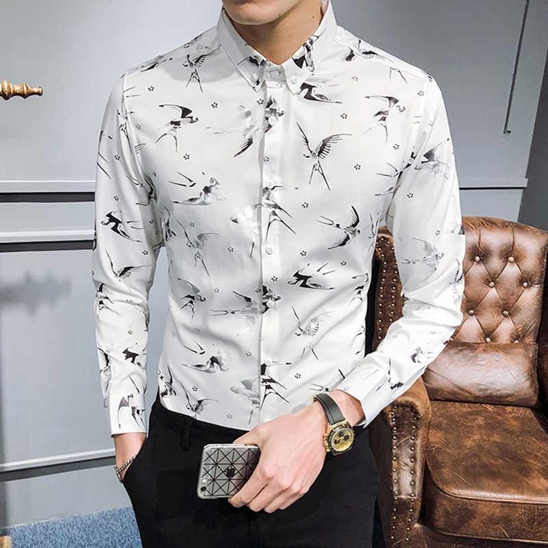 8053cfc359ab818 ... Ласточка печати рубашка Для мужчин выпускного вечера вечерние клуб  Модельер рубашка Camisa Мода Masculina Slim Fit ...