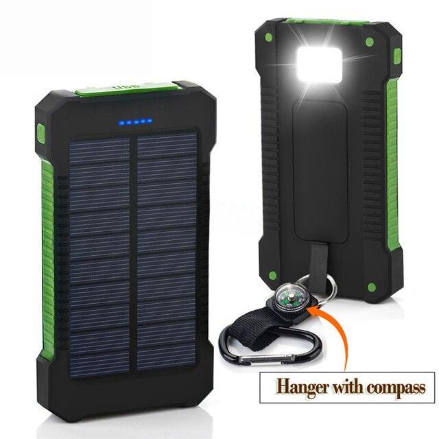 НОВЫЙ Портативный Водонепроницаемый Солнечной Банк силы 10000 мАч Dual USB Солнечное Зарядное Устройство Powerbank со СВЕТОДИОДНОЙ подсветкой Компас для всех телефон