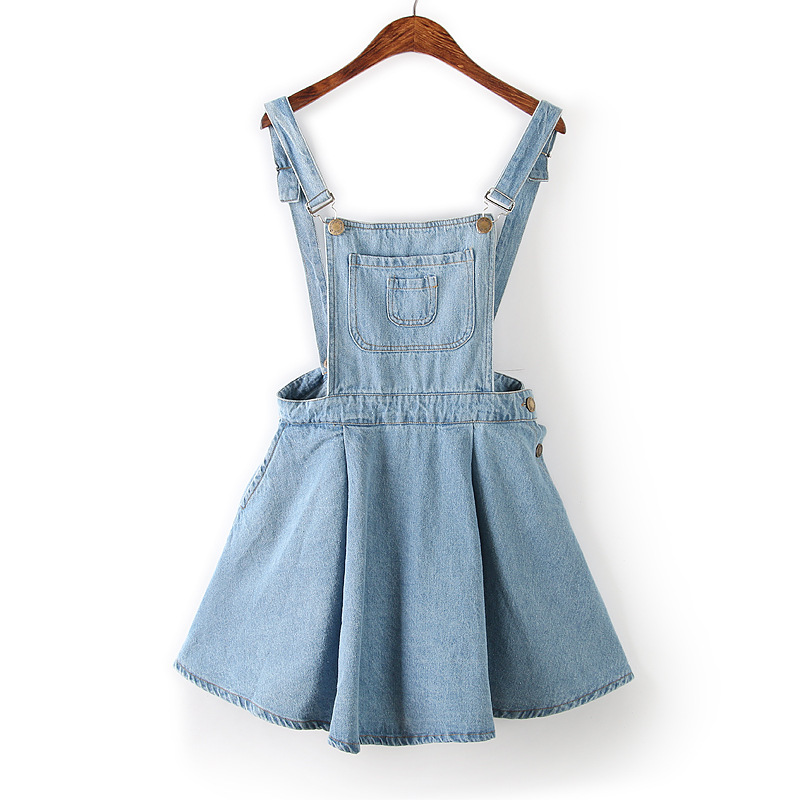 Summer 2015 New Women Straps Denim Dress Preppy Style Blue Jeans Overall Dresses Fit And Flare Vestidos Femininos In From Womens Clothing