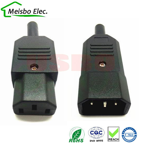 New Diy 10a 250v Black Iec C13 C14 Female Male Plug