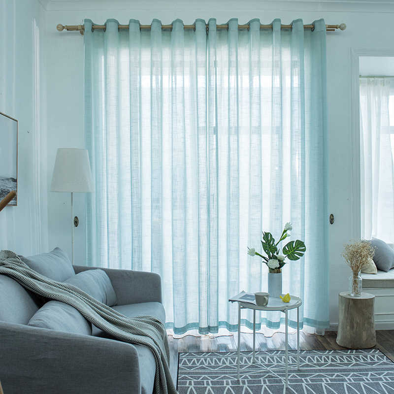 Morden Tulle Curtains for Living Room Window Treatments Solid Kitchen Japanese Sheer Curtains Panel