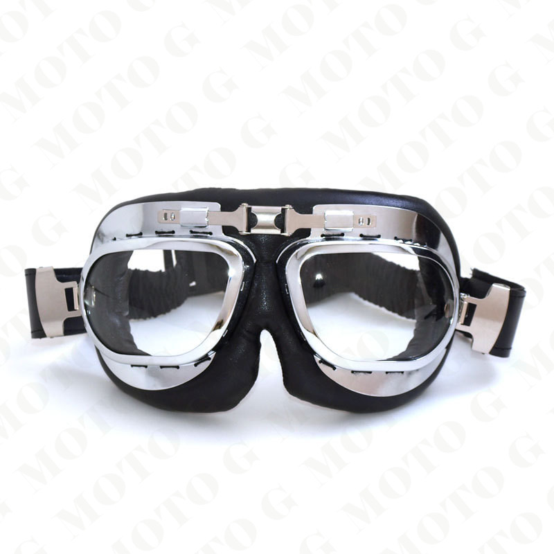 100% brand new leather motocross goggles unisex vintage pilot biker eyewear sunglasses ATV skiing dirt bike motorcycle glasses