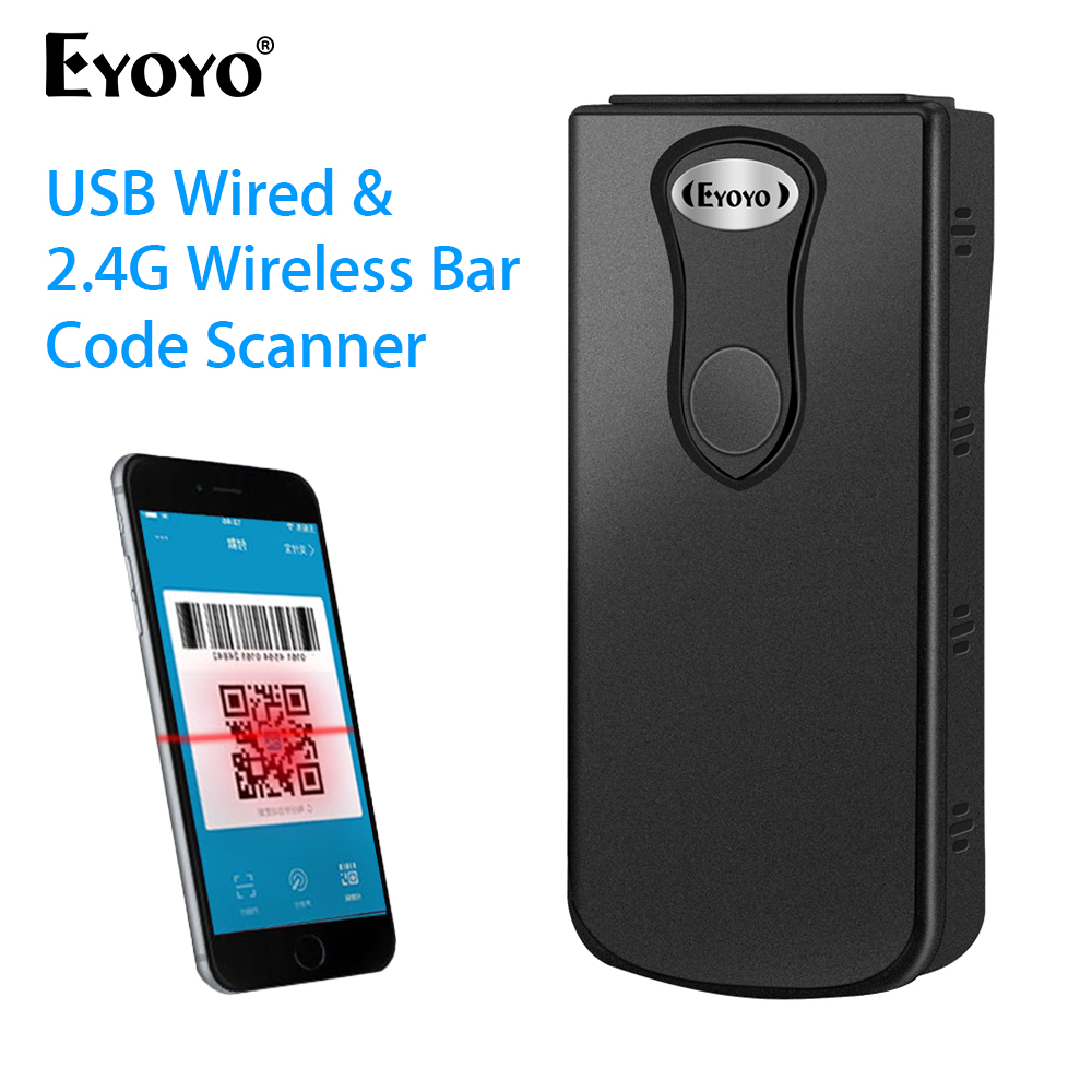Eyoyo 1D 2D QR Bluetooth Barcode Scanner iPhone Android Phones,Tablets or Windows Mac Computer CCD PDF417 Data Matrix Bar Code Reader for iPad 3-in-1 Bluetooth /& 2.4GHz Wireless /& Wired Connection