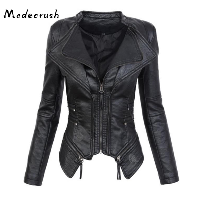 Modecrush Women Black Faux   Leather   Jacket Female Gothic Style Zipper Autumn Winter PU Motorcycle Jacket Lapel Outerwears
