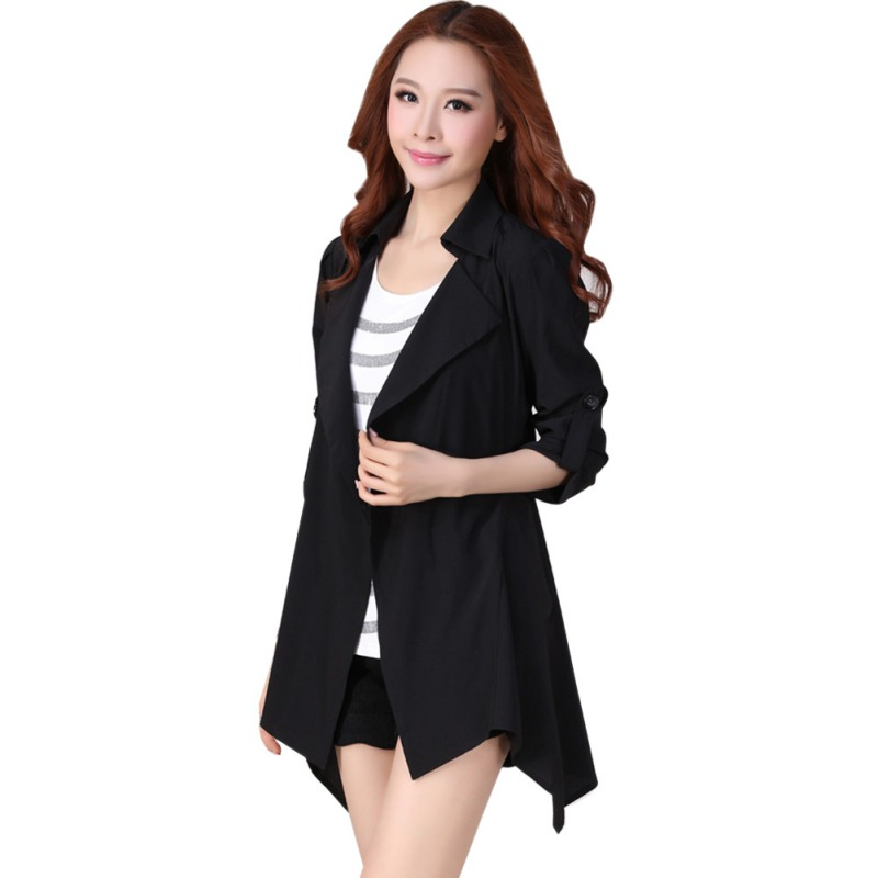 Coat Women Windbreaker Elegant Autumn Coat Long Sleeve Jackets Overcoat Outerwear Coat Winter Tops L3