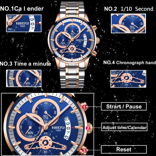 NIBOSI Rose Gold Mens Watches Top Brand Luxury Relogio Masculino Quartz Watch Men Clock Waterproof Sports Watch Erkek kol saati 1