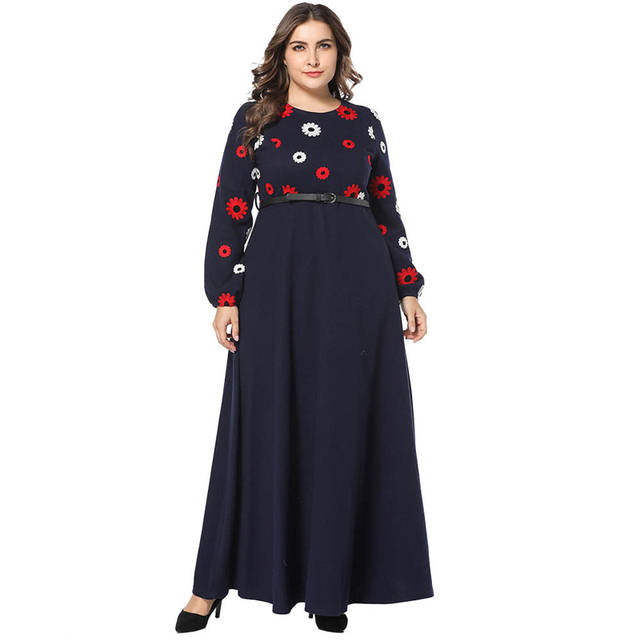 43d648f45915 Navy Blue Flower Appliques Woolen Winter Dress Women Long Sleeve Fit Flare Maxi  Long Dresses with Belt Plus Size 3XL 4XL