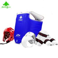 Pinetree Quality straw mat lines WTF approve Taekwondo Protectors suite chest guards Child adult Forearm shin groin protectors