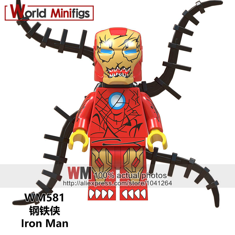 Spiderman Minifigures Marvel Heroes Anti Venom Wolverine Iron Man Figure