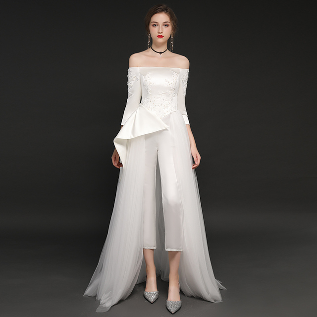 White Wedding Jumpsuits 2019 Three Quarter Sleeves New Charming Tulle Satin  Wedding Dresses Off the Shoulder 9258661da6a3