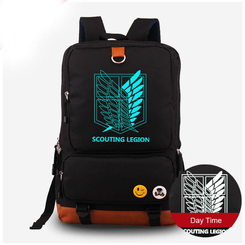 Attack on Titan Backpack Luminous Men Women Canvas Backpack Shingeki no Kyojin Schoolbag Computer Laptop Bag купить недорого в Москве