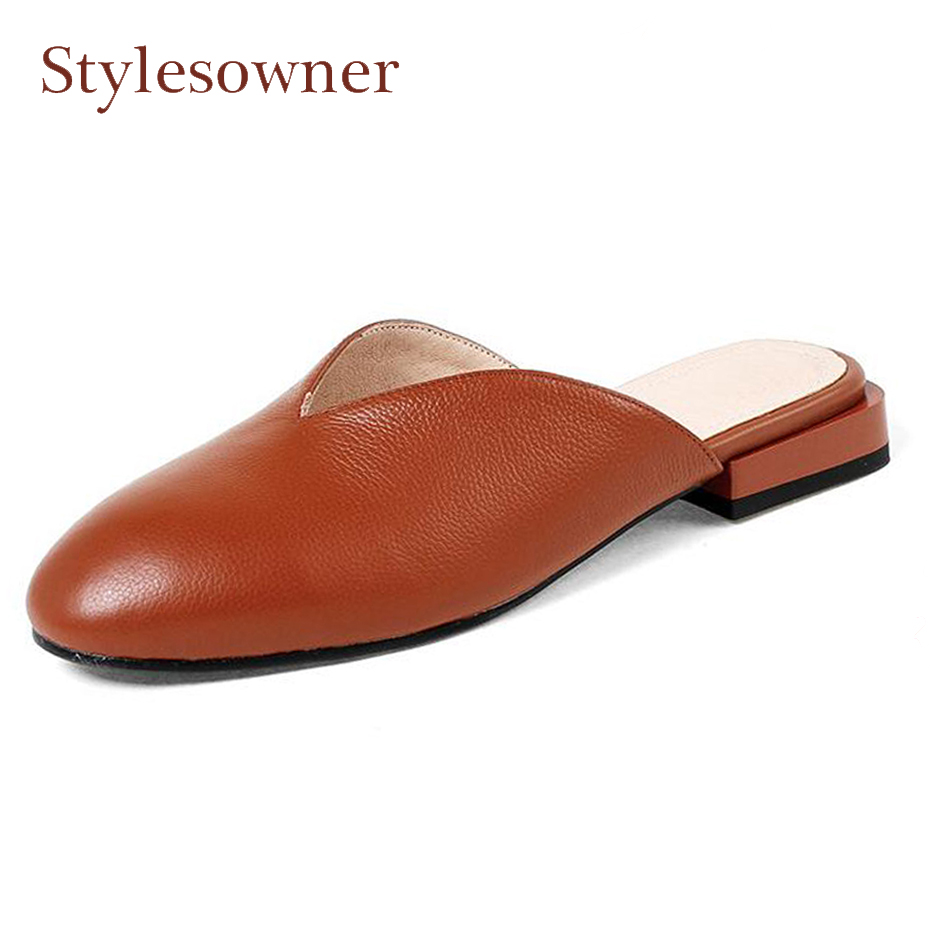Stylesowner spring summer genuine leather solid color slippers round toe deep V open slip on slides women low heel mules shoesStylesowner spring summer genuine leather solid color slippers round toe deep V open slip on slides women low heel mules shoes