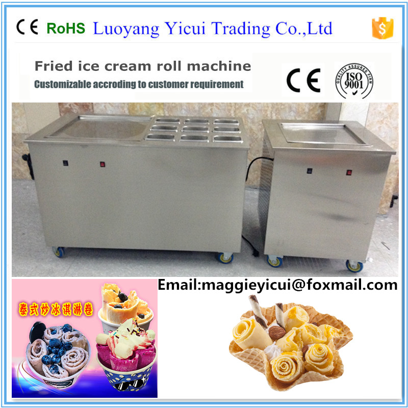 2016 New Product Fry Ice Cream Roll Making Machine with 9 Topping Containers