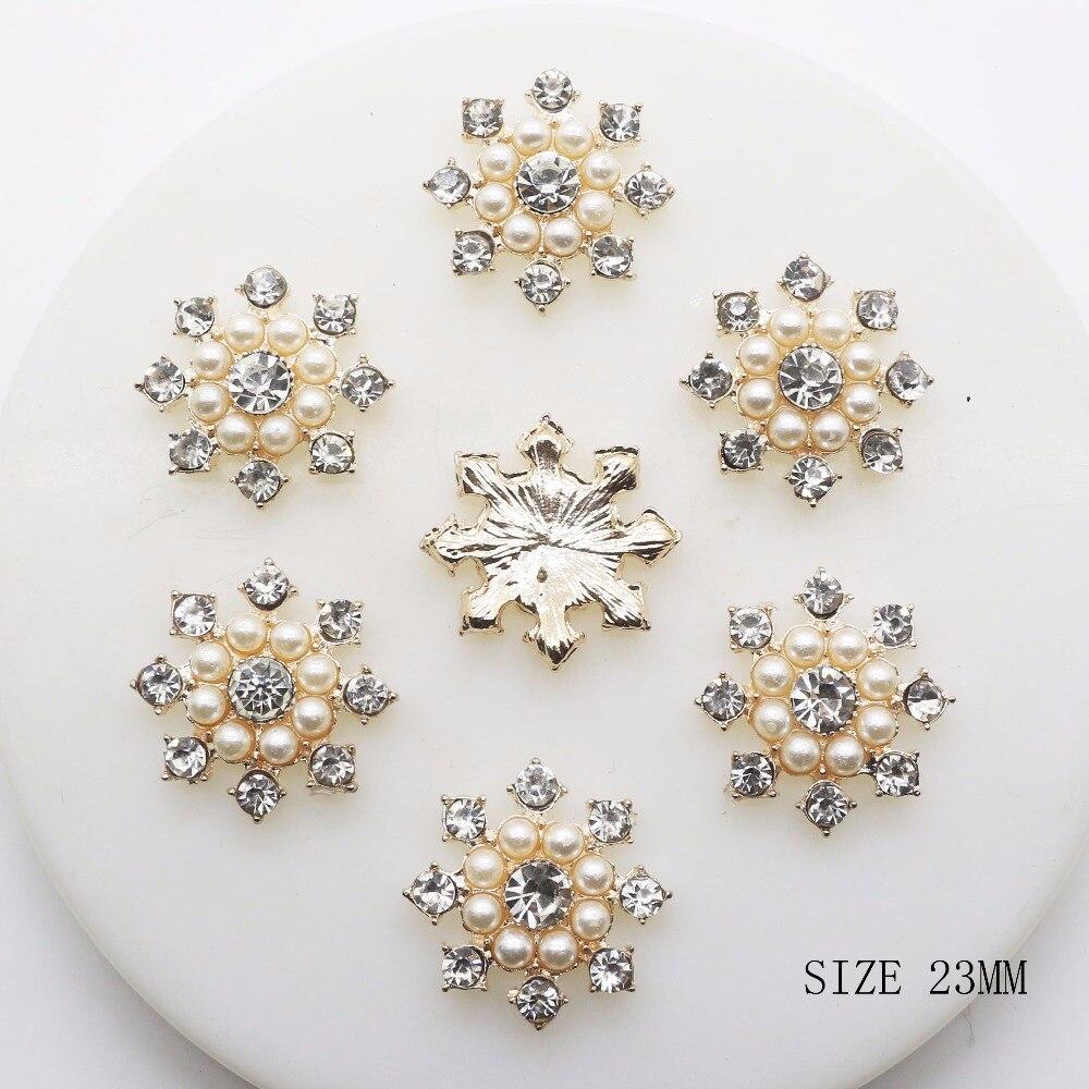 New Hot 10Pcs 23mm Round Alloy Diy Jewelry Accessories Rhinestones Pearl  Wedding  Pedestal Embellishments Caps Decoration