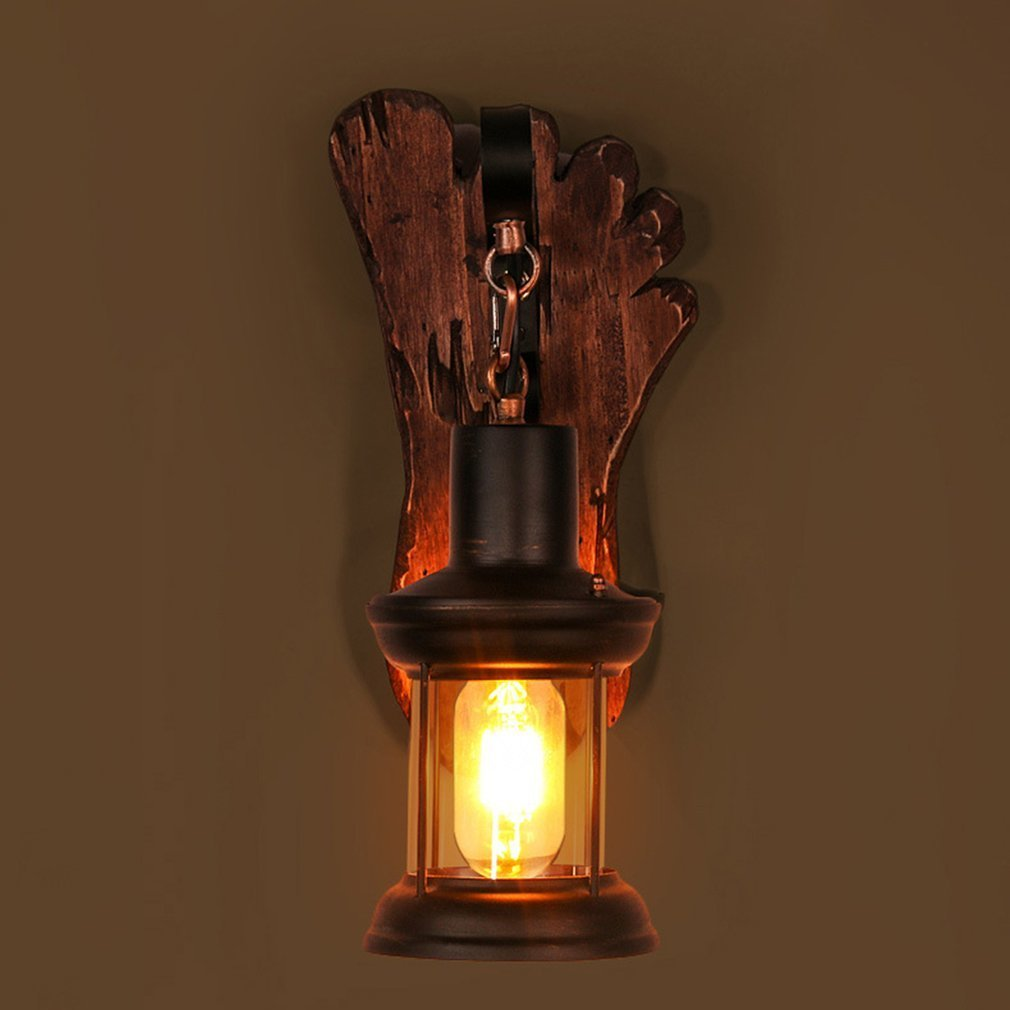 Vintage Industrial Style LED Wall Lamp Old Boat Wood Nostalgia Iron Lampshade Outdoor Lighting Floodlight for Bar Cafe Store