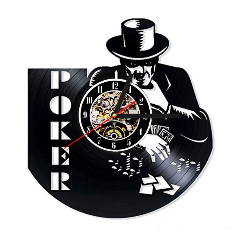 Poker Game Fashion Creative 3D Record Clock Vinyl Record Hanging LED Wall Clock Modern Wall Art Antique Style Home Decor