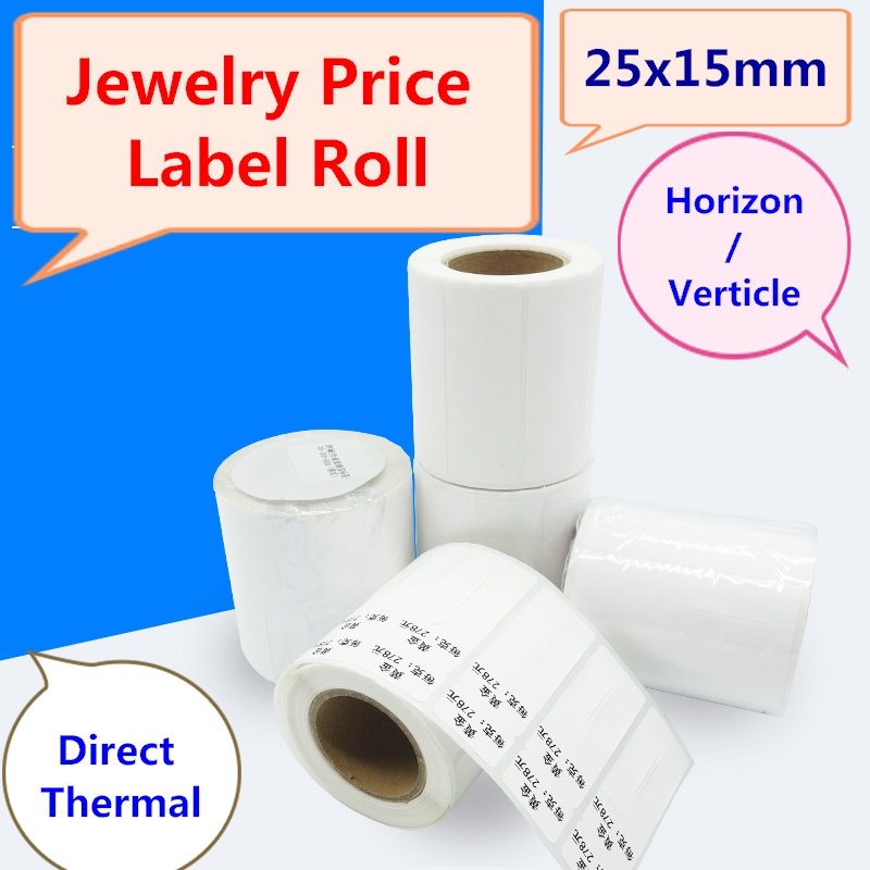 Jewelry Sticker Roll For Direct Thermal Label Printer, 1 Roll, 500pcs, Zebra Compatible Jewelry Display Price Label