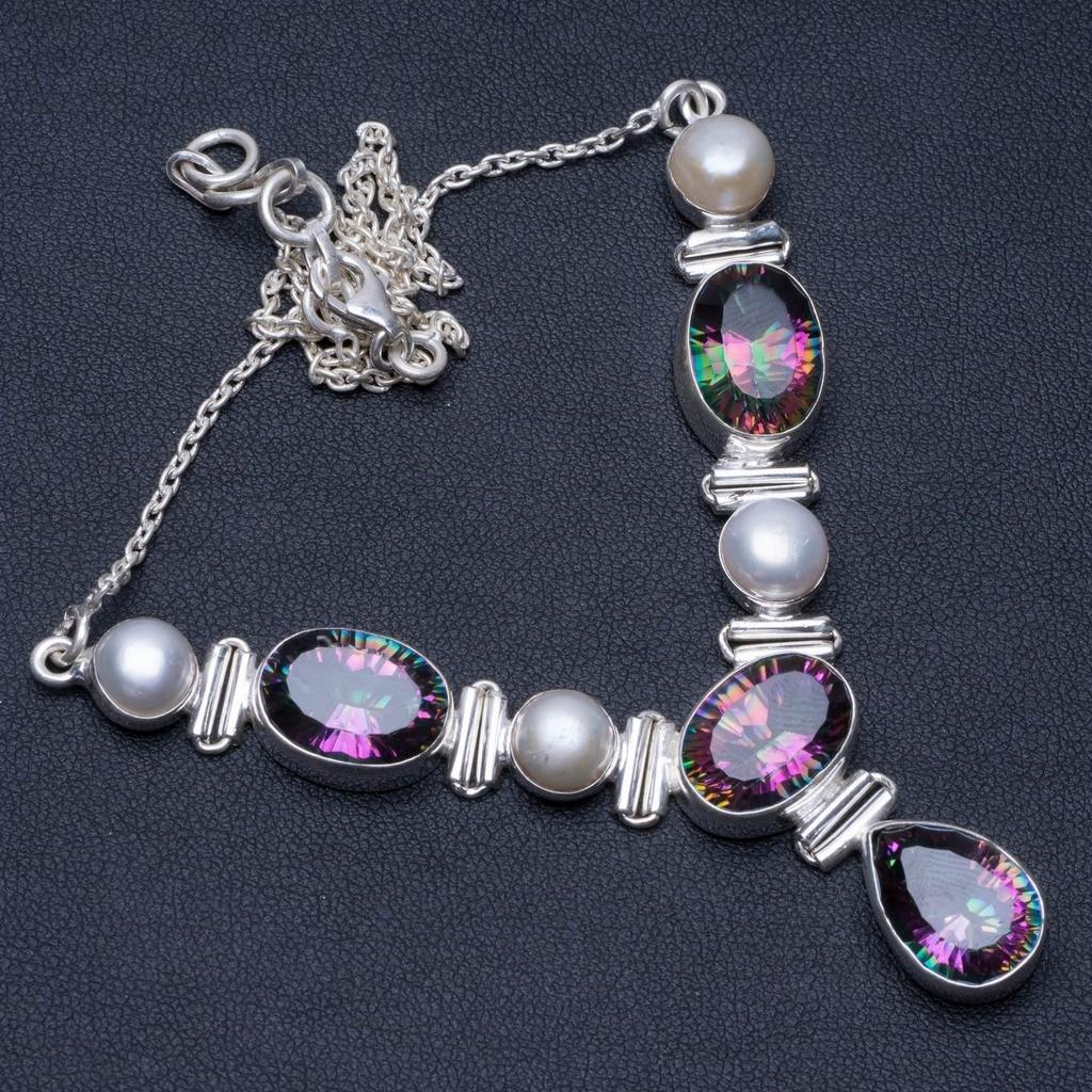 Topaze mystique naturelle et perle de rivière conception Unique 925 collier en argent Sterling 17 1/2