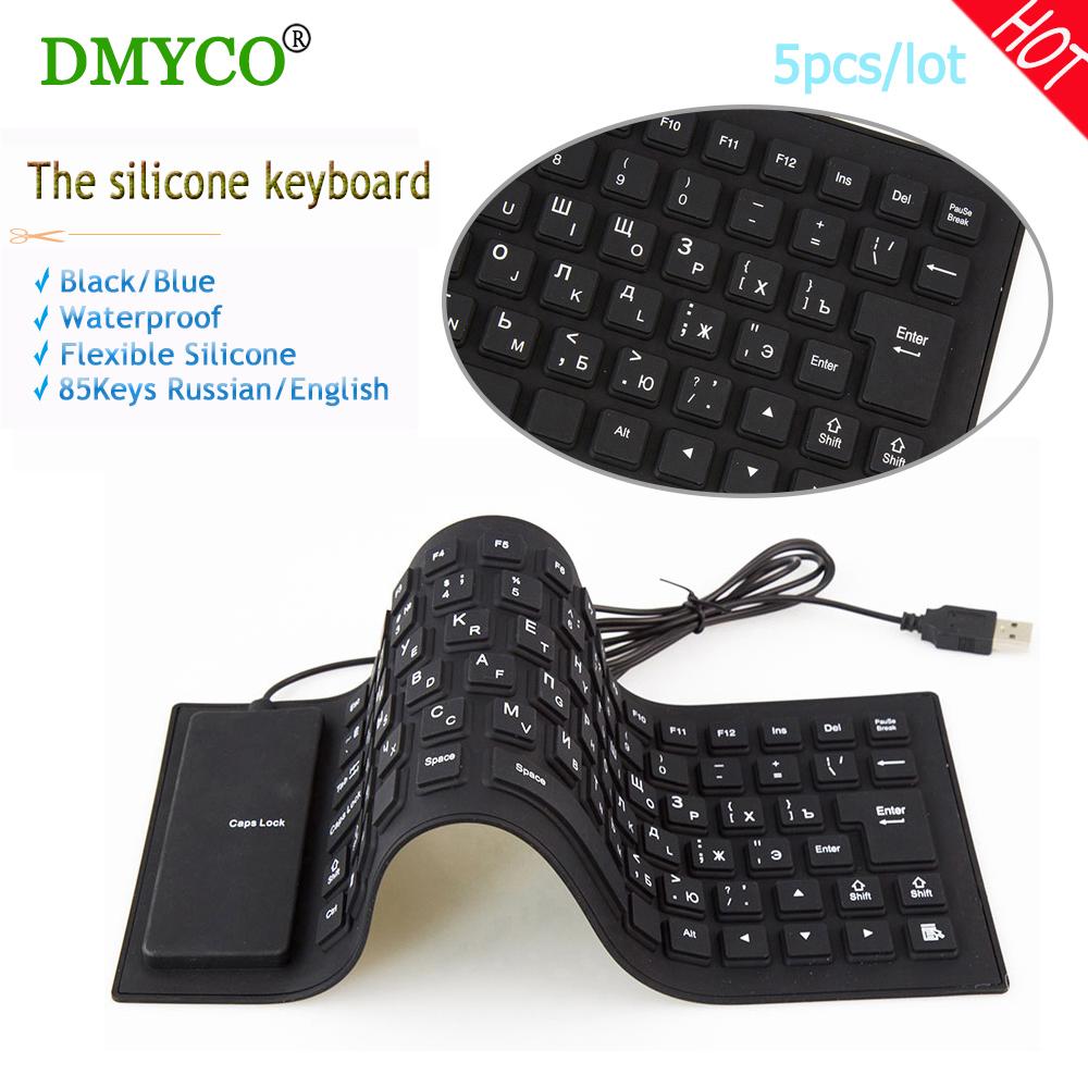 Prix pour DMYCO 5 pc Anglais/Russe filaire Claviers Étanche fold Portable Souple et Flexible En Silicone Clavier pour tablet ordinateur De Bureau