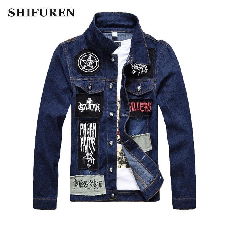 SHIFUREN Men Jeans Jacket Patch Designs Male Long Sleeve Cotton Denim Jacket Single Breasted ...