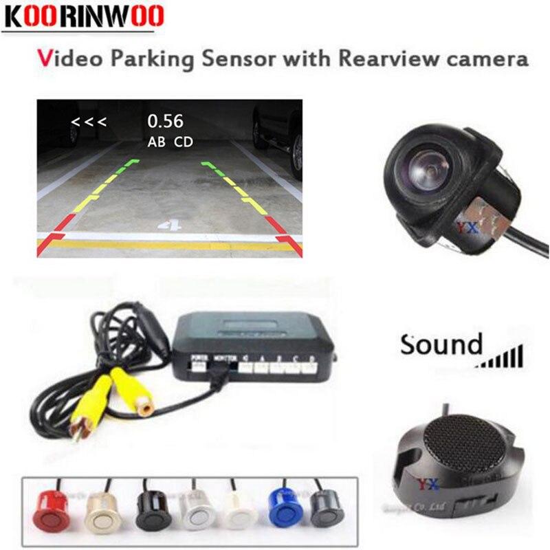Koorinwoo Dual Core CPU Car Parking Sensor 4 Buzzer Radar Car Rear view camera Reverse Cam detector Parktronic Parking Assist