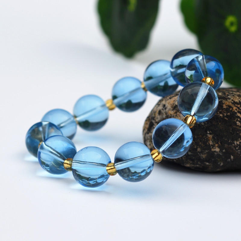 High Quality 10mm Blue Round Beads Bracelets Yellow small Beads Bracelets Bangles Gift for Women Fashion Jades Jewelry