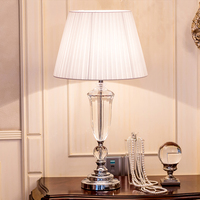 Modern K9 Crystal Bedroom Table Lamp Fabric Lampshade Living Room Decoration Abajur Table Lamp For Bedroom