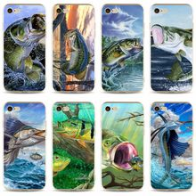Bass Pesca Lago Pôr Do Sol Pescador Capa de Silicone Macio TPU Phone Case Para iPhone 5 5C 5S SE X 6 6 S plus 7 7 plus 8 8 plus(China)