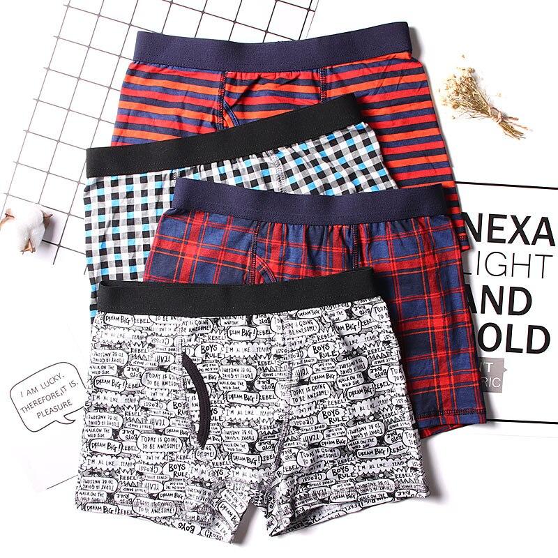 6 Pieces/Lot Plaid Striped Skull Print Boys Trunk Boxers Kids Shorts Child Panties Cotton Pants Children Underwear Briefs 6-15Y