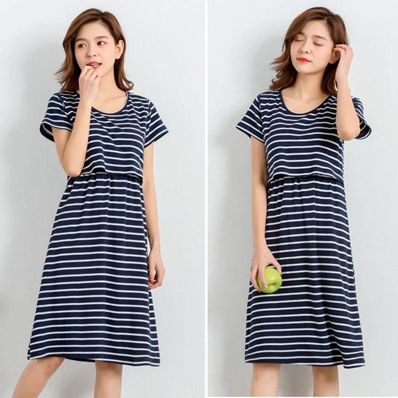 Pregnant Breastfeeding Nightgrown Dresses Pregnant Nursing Pajamas Summer Short Sleeves Nursing Clothes for Maternity Women