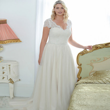 ADLN Elegant Plus Size Wedding Dresses Open Back Cap Sleeve Beading A-line Tulle Wedding Dress vestido de noiva Zip Back crayfish embroidery zip up back dress