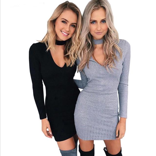 Otoño invierno dress mujeres 2016 partido de manga larga sexy bodycon dress casual dress vestidos cortos vestidos de suéter de punto negro