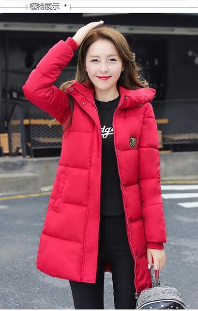 2016 de moda de nova mulheres jaqueta de inverno longo casaco fino feminino engrossar parka para baixo cotton clothing