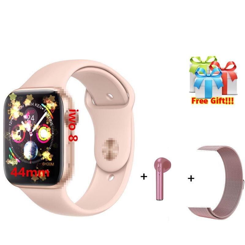 IWO 8 montre intelligente 44mm montre intelligente hommes femmes reloj série 4 1:1 montre intelligente pour iOS Android VS iwo 6 + écouteurs + ceinture cadeau