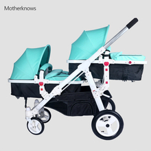 New hotselling twins baby Strollers Motherknows car 175 degree carriage wide seat 34cm bassinet with adjustable footrest