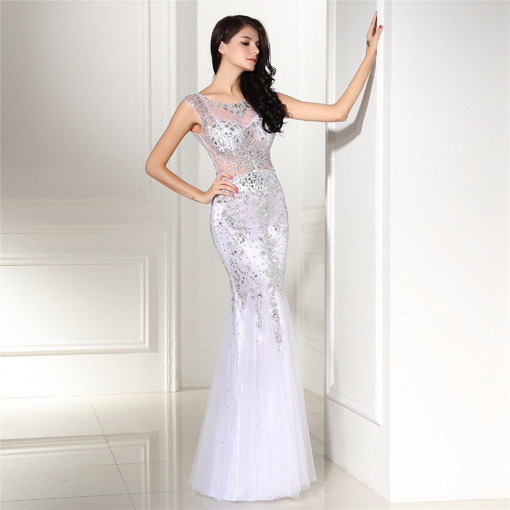 New Elegant White Mermaid Evening Dresses 2018 Robe De Soiree ...