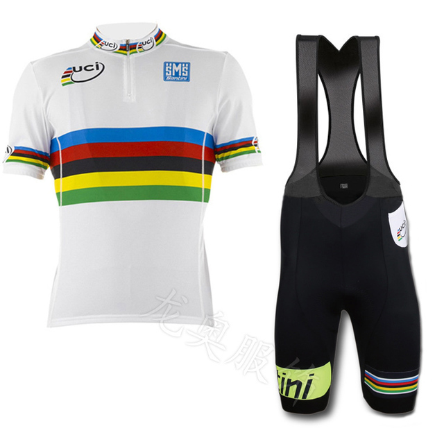 High quality 2015 new UCI Santini rainbow bike jersey + bib shorts cycling  ciclismo suit tight ropa ciclismo clothing e1b7db047